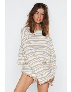 Jump Into Bed Striped Sweater And Ruffle Shorts Lounge Set by Nasty Gal