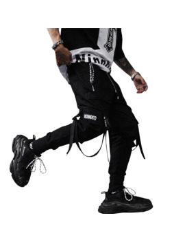 2019 New Spring Hip Hop Pants Club Singer Stage Costume Trousers Ribbons Streetwear Joggers Sweatpants Abz256 by Ali Express.Com