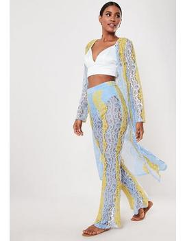 Blue Co Ord Lace Ladder Trim Maxi Kimono by Missguided