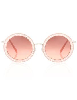 Round Acetate Sunglasses by Miu Miu
