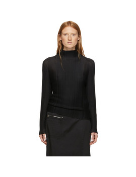 Black Wooly Pleats Turtleneck by Issey Miyake
