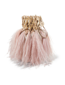 Aramis Embellished Feather Trimmed Velvet Shoulder Bag by Rosantica