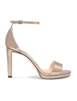 Misty 100 Metallic Leather Platform Sandals by Jimmy Choo