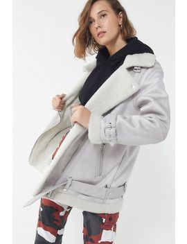 Uo Oversized Faux Leather Aviator Jacket by Urban Outfitters