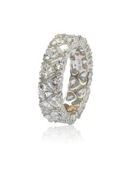 Suzy Levian Sterling Silver Heart Shape White Cubic Zirconia Eternity Band by Suzy Levian