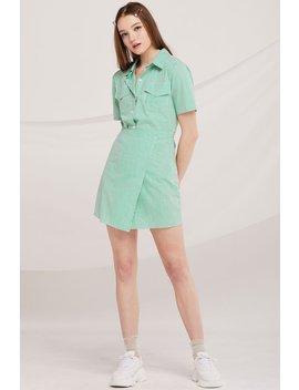 Julie Pinstripe Shirt Wrap Dress by Storets