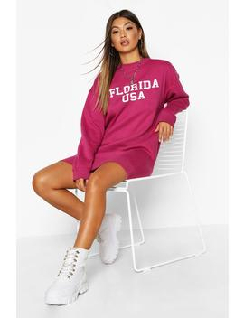 Slogan Rib Hem Oversized Sweatshirt Dress by Boohoo