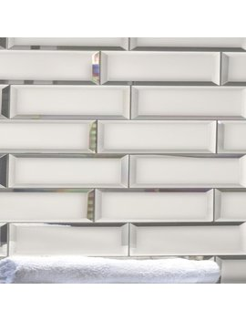 "Reflections 3"" X 12"" Matte Glass Mirror Peel & Stick Beveled Subway Tile by Abolos"