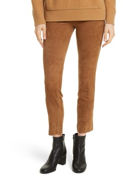 Stretch Side Slit Cropped Suede Pants by Vince