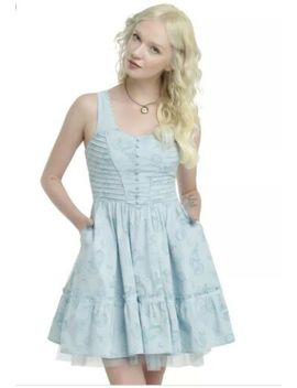 Disney Alice Wonderland Cheshire Cat Through The Looking Glass Tea Party Dress M by Disney For Hot Topic