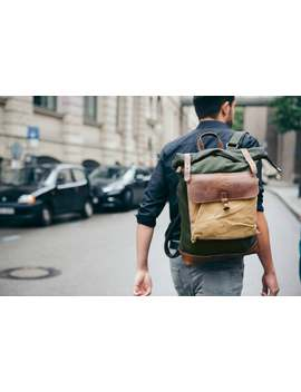 Kovered Reclaimed Leather Rolltop Backpack   Green Wax Canvas Backpacks | Vintage Waxed Rucksack | Large 17 Inch Laptop Bag For Man Or Woman by Etsy