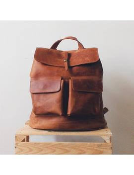 Hand Crafted Travel Leather Backpack In Cognac Brown Color With Lining / Big Citi Rucksack Diaper Bag With Two Front Pockets by Etsy
