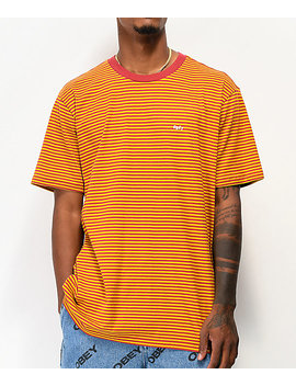 Obey Apex Red & Yellow Stripe Knit T Shirt by Obey