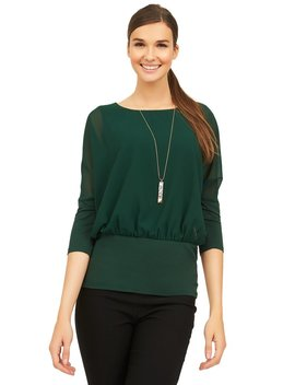 Chiffon Overlay Top With Knit Lining by Suzy Shier