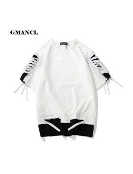 T Shirt Summer 2018 Men Shoulder Ripped Hole Loose Tops Fashion Hip Hop Black White Stitching Streetwear Short Sleeve T Shirt by Ali Express.Com