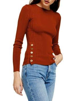 Side Button Sweater by Topshop