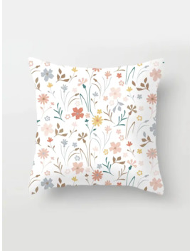 Floral Overlay Print Cushion Cover by Romwe