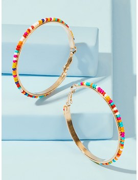 Beaded Hoop Earrings 1pair by Romwe