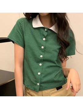 Dute   Short Sleeve Striped Buttoned T Shirt by Dute