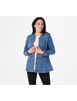 Logo By Lori Goldstein Stretch Denim Button Front Jacket by Logo By Lori Goldstein®