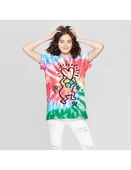 Women's Keith Haring Elbow Sleeve Heart Graphic T Shirt   Mighty Fine (Juniors')   Tye Dye by Shirt