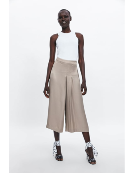 Pleated Satin Effect Pants View All Pants Woman by Zara