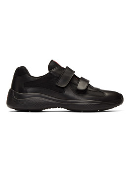 Black Leather Technical Sneakers by Prada