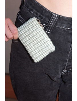 Green Plaid Coin Purse by Brandy Melville