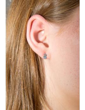 Silver Mini Teddy Bear Stud Earrings by Brandy Melville