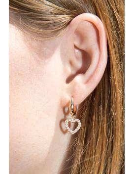 Gold Rhinestone Heart Earrings by Brandy Melville