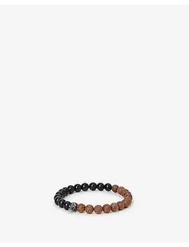 Cognac And Black Beaded Skull Bracelet by Express