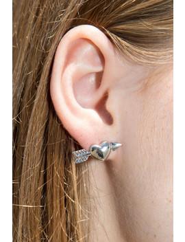 Silver Heart And Arrow Earrings by Brandy Melville