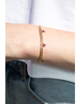 Gold And Magenta Rhinestone Bracelet by Brandy Melville