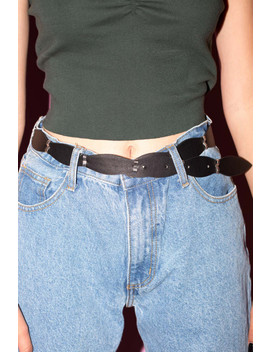 Silver And Black Scalloped Belt by Brandy Melville