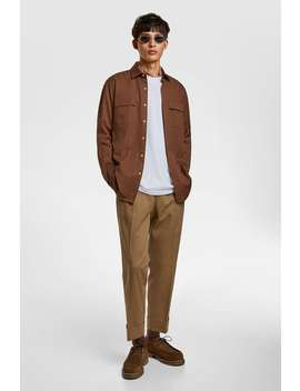 Cropped Trousers With Front Pleats New Inman by Zara