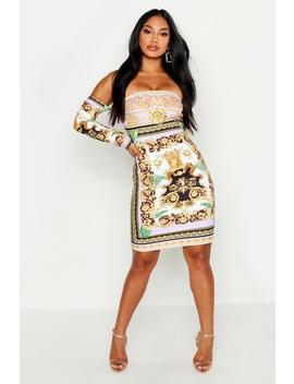 Off The Shoulder Printed Dress by Boohoo