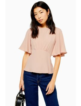 Austin Plain Pink Angel Sleeve Blouse by Topshop