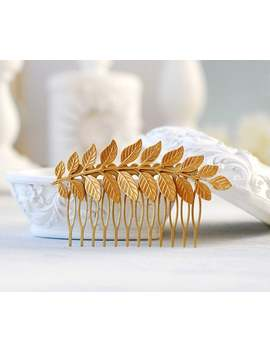 Gold Leaf Hair Comb. Leaf Headpiece, Wedding Hair Accessory, Woodland Hair Accessory, Gold Brass Leaf Branch Hair Comb by Etsy