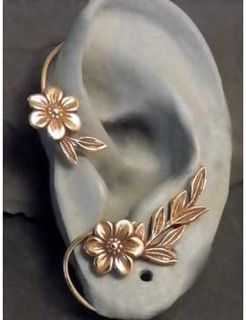 Golden Garden Ear Wrap Flower And Leaf Brass Ear Cuff Wrap by Etsy