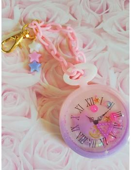Cute Clock Resin Shaker Keychain   Kawaii Pastel Pocket Watch Resin Charm With Chain   by Etsy