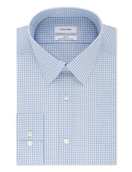 Calvin Klein Men's Steel Slim Fit Non Iron Performance Stretch Blue Check Dress Shirt by General