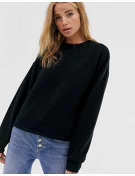Pull&Bear Basic Sweat Top In Black by Pull&Bear