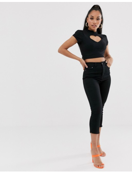 Asos Design Petite Mandarin Collar Top With Heart Cut Out In Black by Asos Design