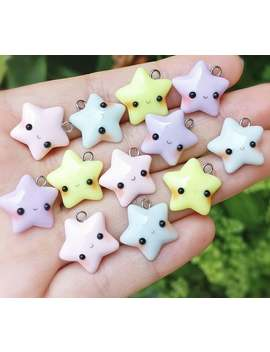 Kawaii Pastel Star Polymer Clay Charm   Kawaii Star   Blue Star   Pink Star   Yellow Star   Purple Star   Cell Phone Charms   Planner Charm by Etsy