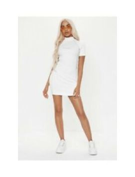 Woman's Missguided X Playboy White Reflective Ribbed Mini Dress Size 12 Bnwt by Ebay Seller