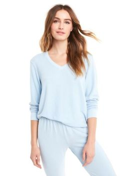 Wildfox Pullover, V Neck, Baggy Beach, Blue Skies, Sweatshirt W. Embroidery S: L by Wildfox