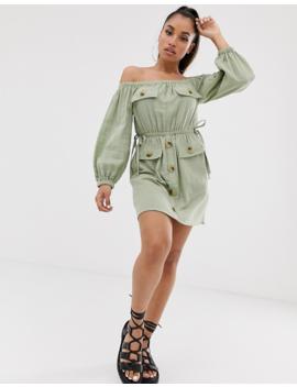 Asos Design Petite Off Shoulder Utility Mini Dress With Pocket Detail by Asos Design