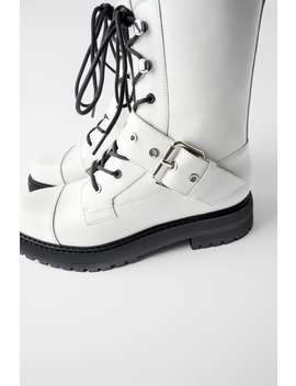 Low Heeled Leather Ankle Boots With Buckle White Shoesshoes Woman by Zara