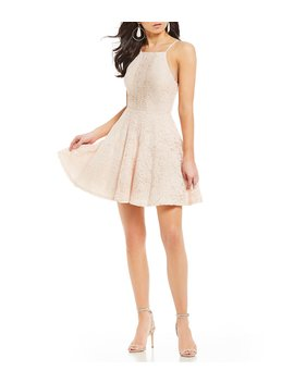 High Neck Lace Fit And Flare Dress by Jodi Kristopher