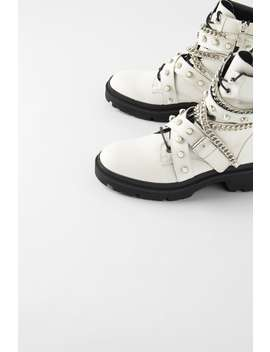 Flat Leather Moto Ankle Boots White Shoesshoes Woman by Zara